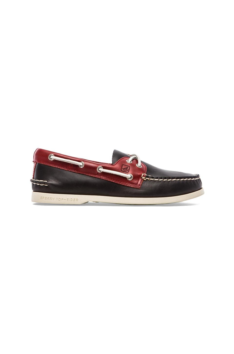 Sperry Top-Sider A/O 2-Eye Cyclone in Dark Grey & Red