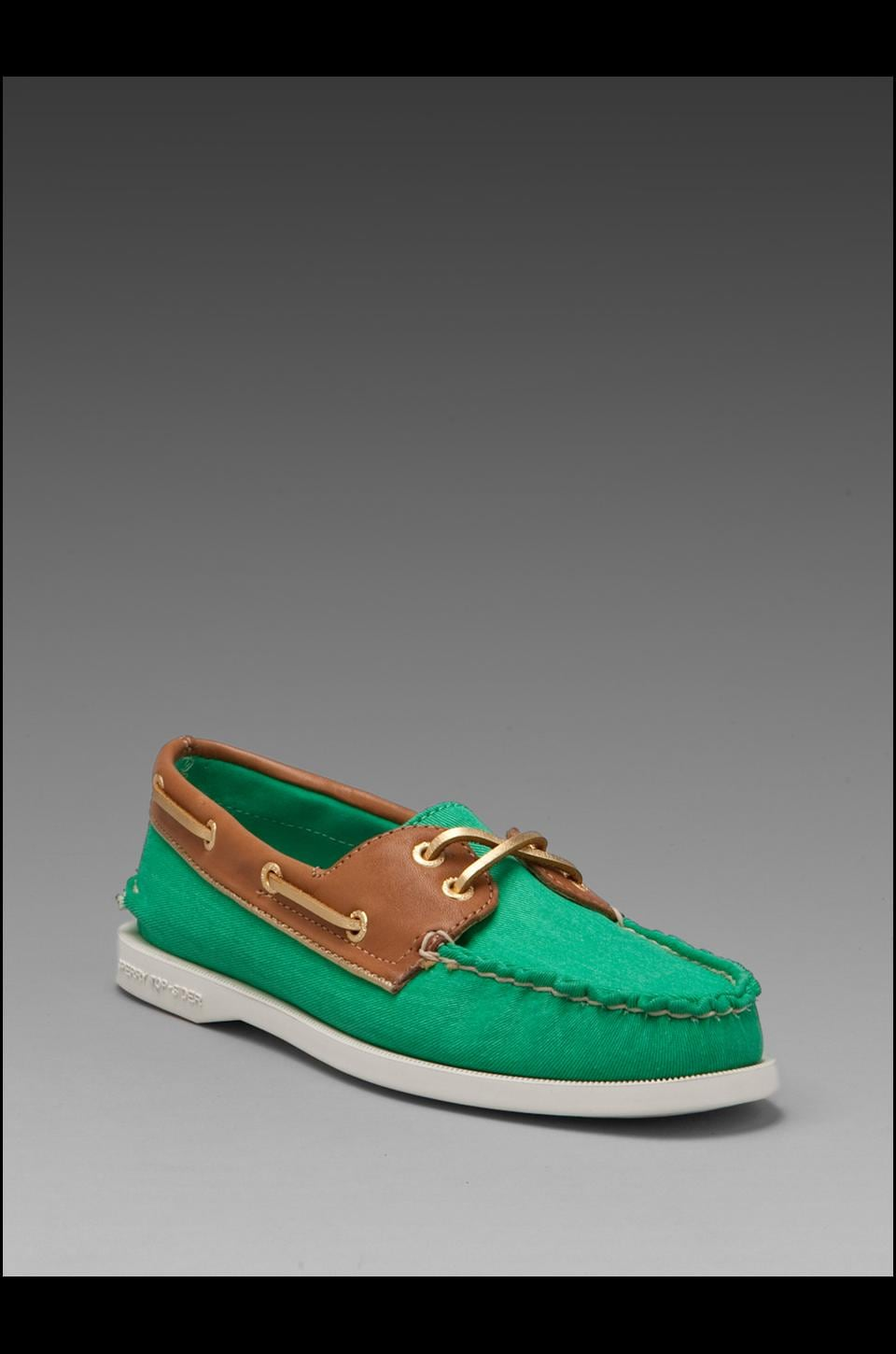 Sperry Top-Sider 2-Eye in Green Salt Wash