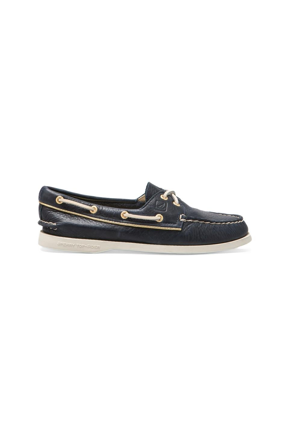 Sperry Top-Sider A/O 2-Eye in Navy/Gold