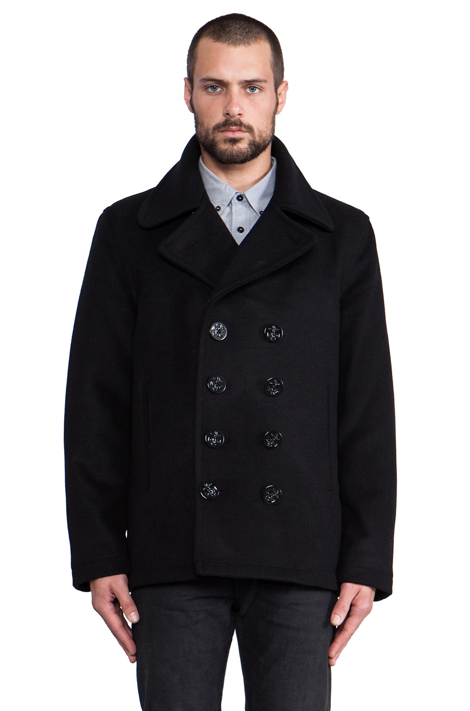 Spiewak Dugan Pea Coat in Black