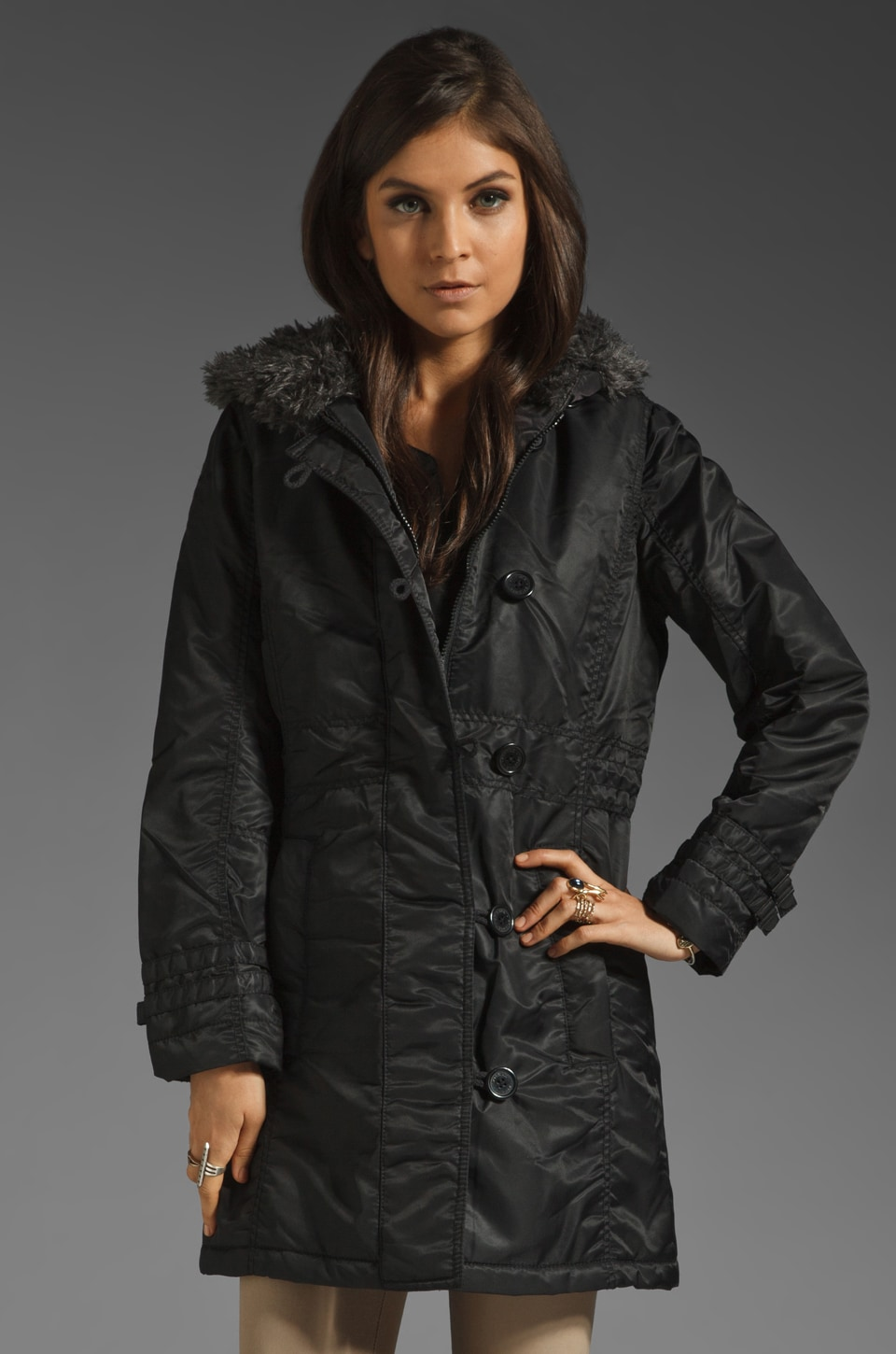 Spiewak Chesnut Parka with Faux Fur Trim in Black