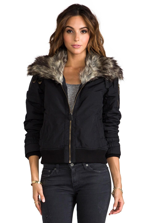 Spiewak Madison Flight Jacket with Faux Fur Trim in Black