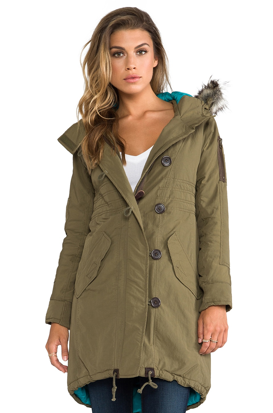 Spiewak Norwich Parka with Faux Fur Trim in Surplus Olive/Lake Blue
