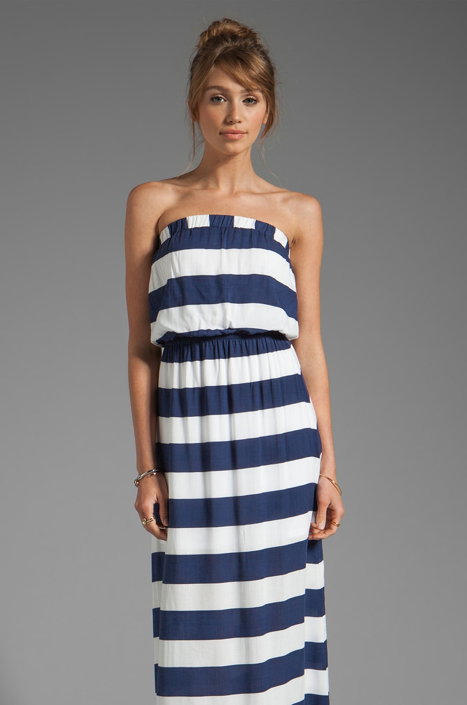 Splendid Magnolia Stripe Maxi Dress in Navy/White