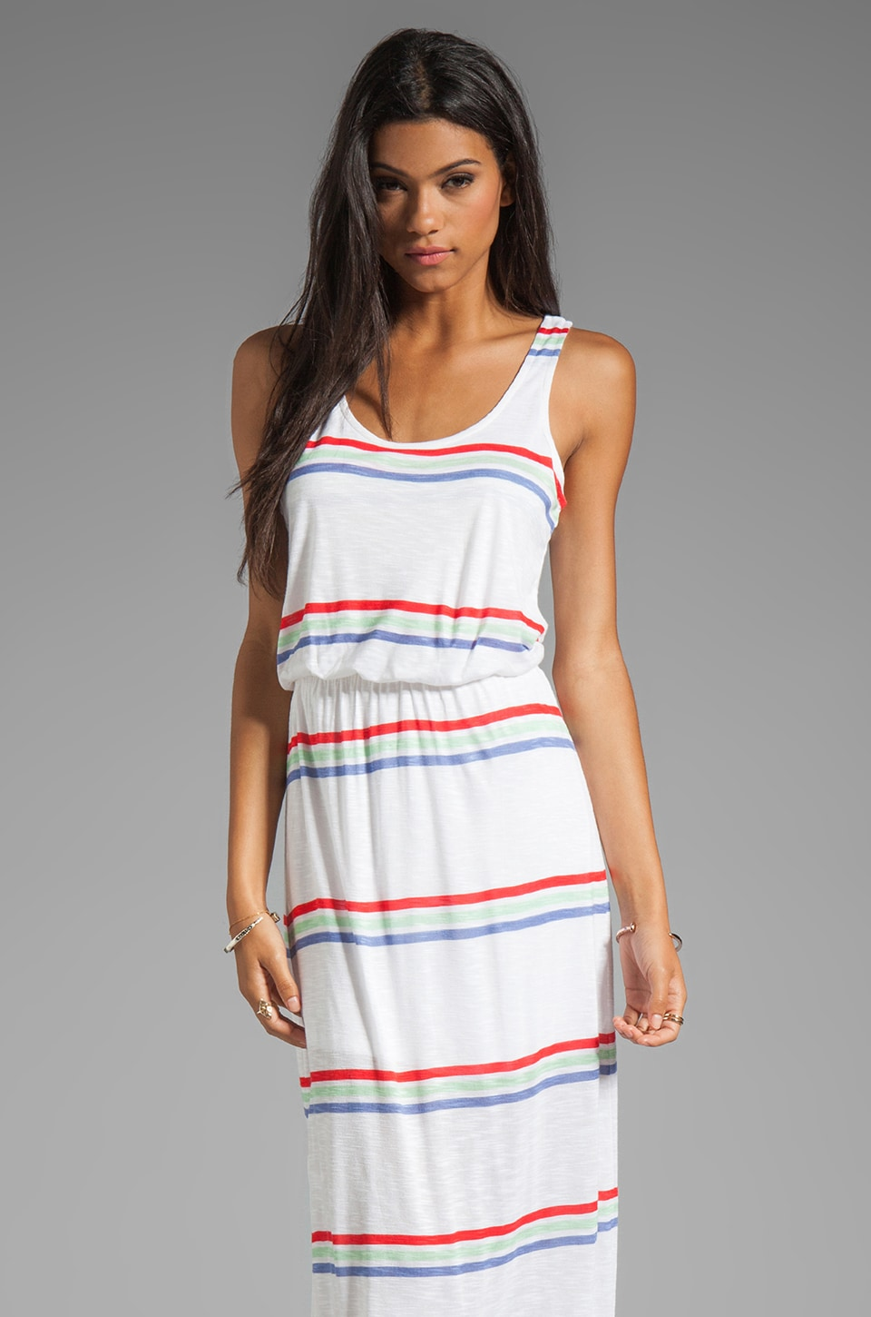 Splendid Hermosa Slub Stripe Dress in Soft White