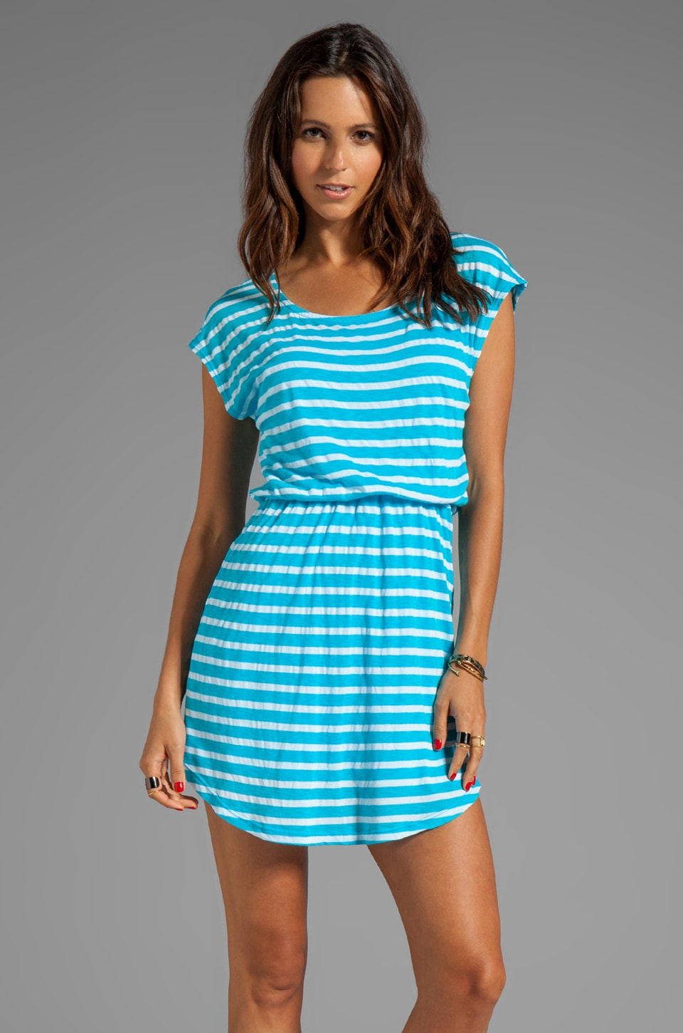 Splendid Short Sleeve Stripe Dress in Turkish Blue