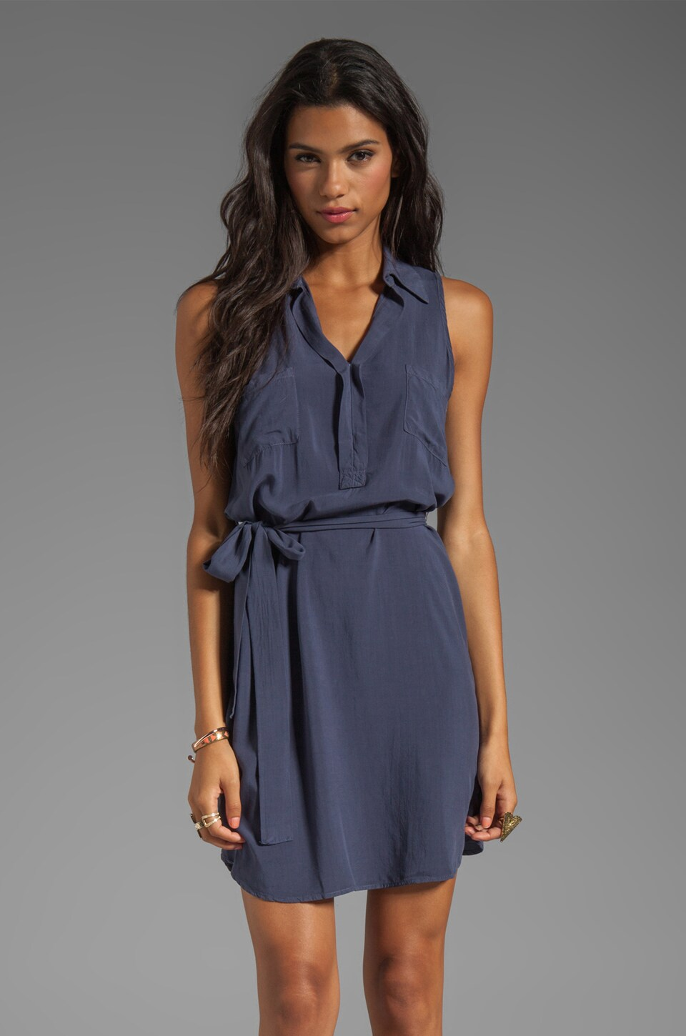 Splendid Collared Tank Dress in Cadet Blue