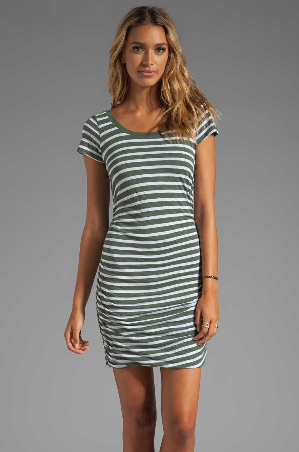 Splendid Short Sleeve Stripe Dress in Camo Green