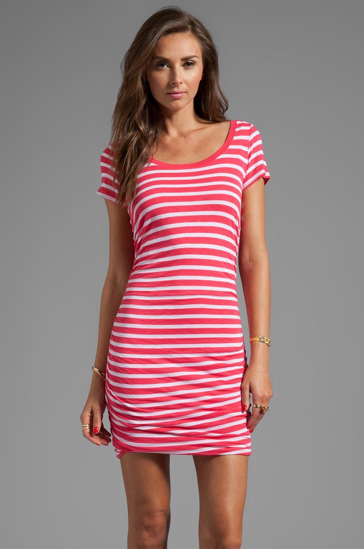 Splendid Short Sleeve Stripe Dress in Punch