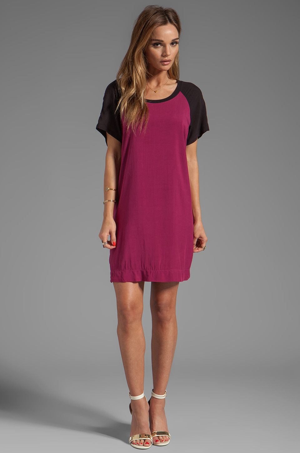 Splendid Color Blocking Dress in Sangria