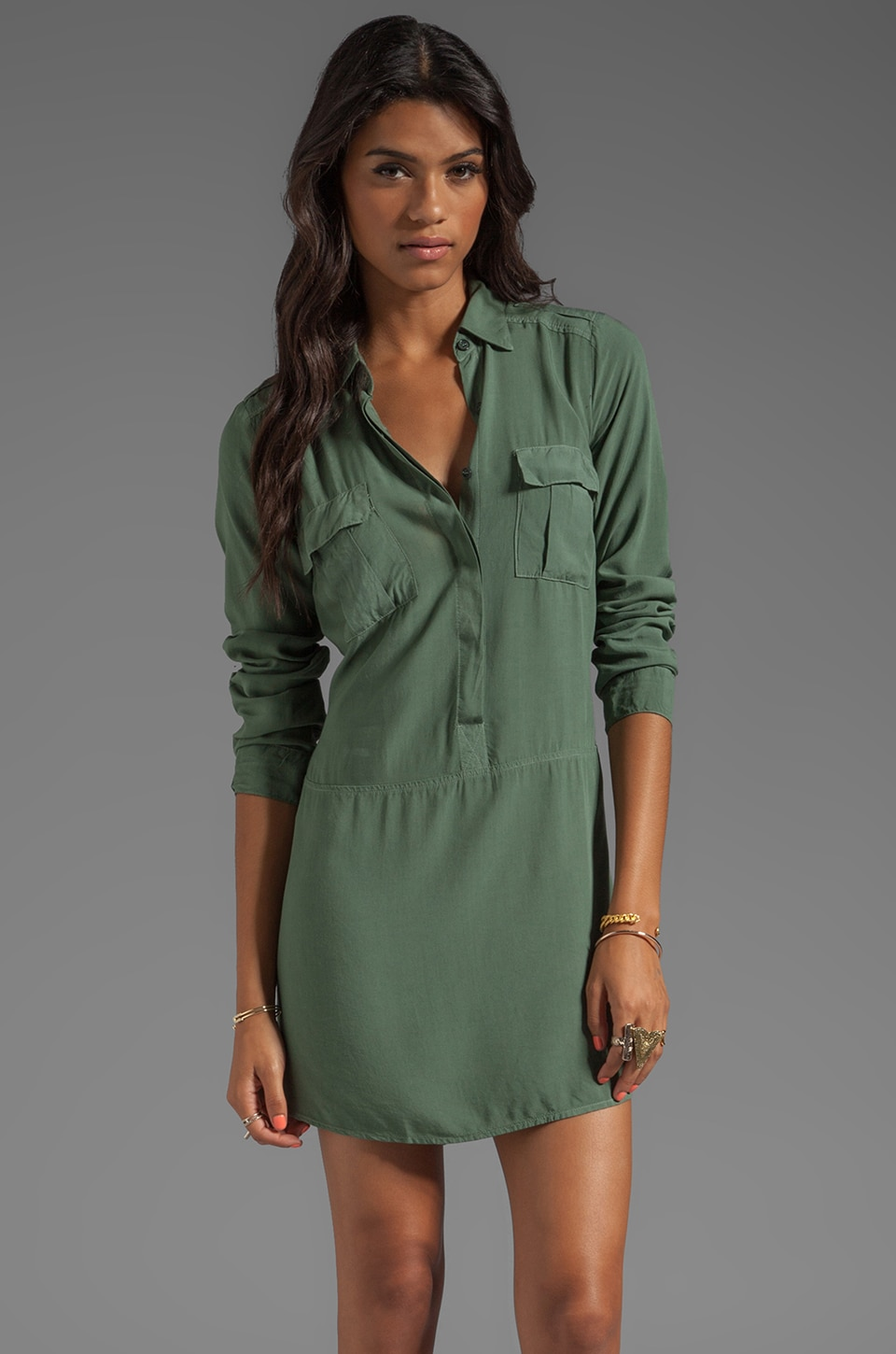 Splendid Long Sleeve Shirt Dress in Camo Green