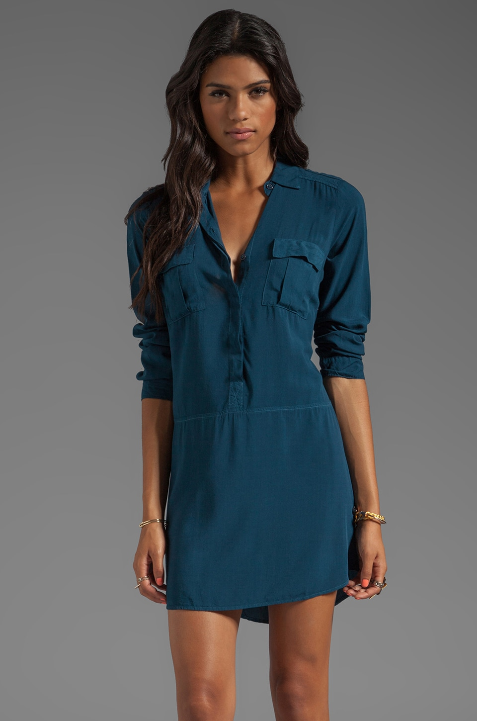 Splendid Long Sleeve Shirt Dress in Deep Teal