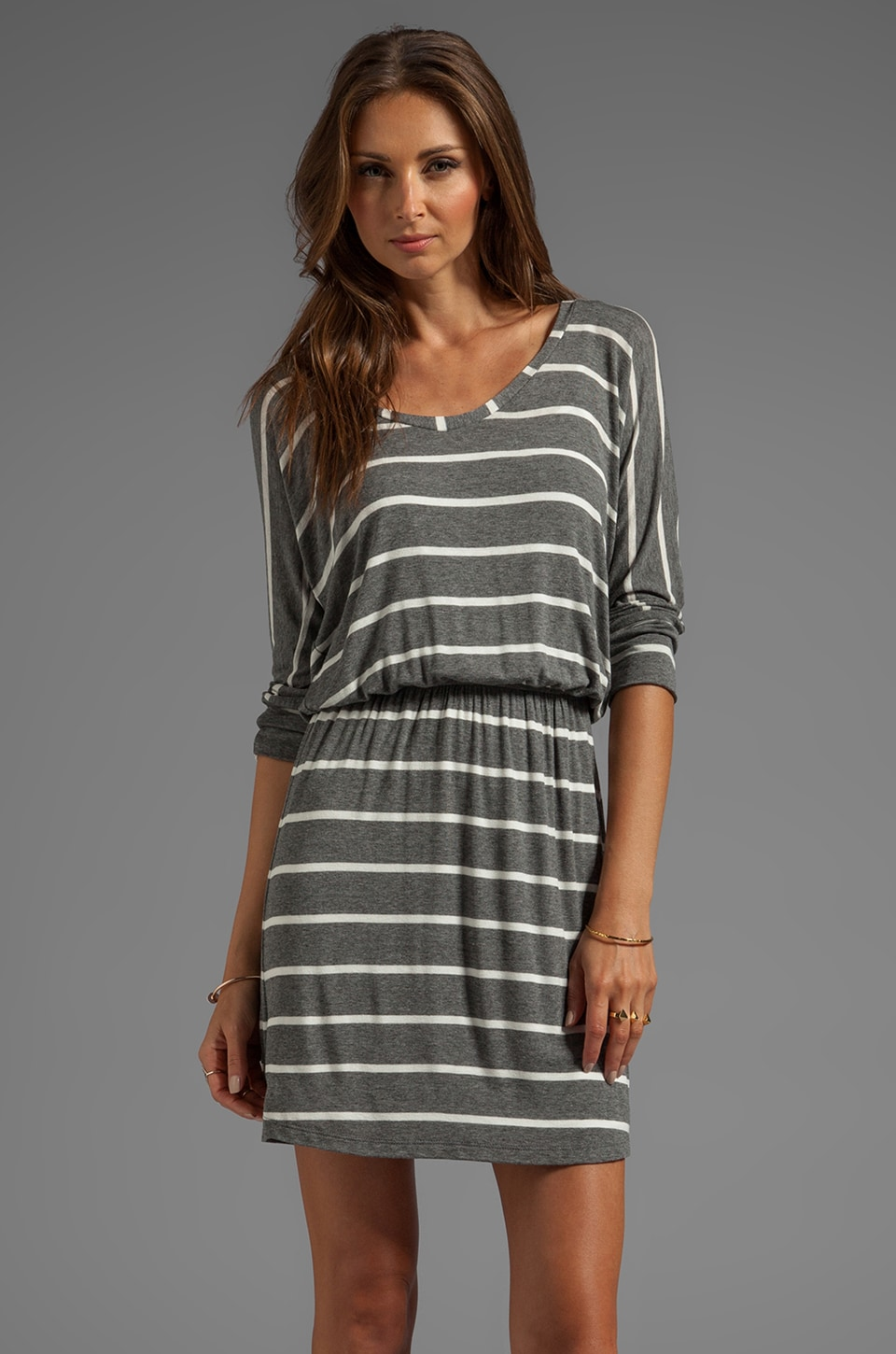 Splendid Short Sleeve Striped Mini Dress in Steel