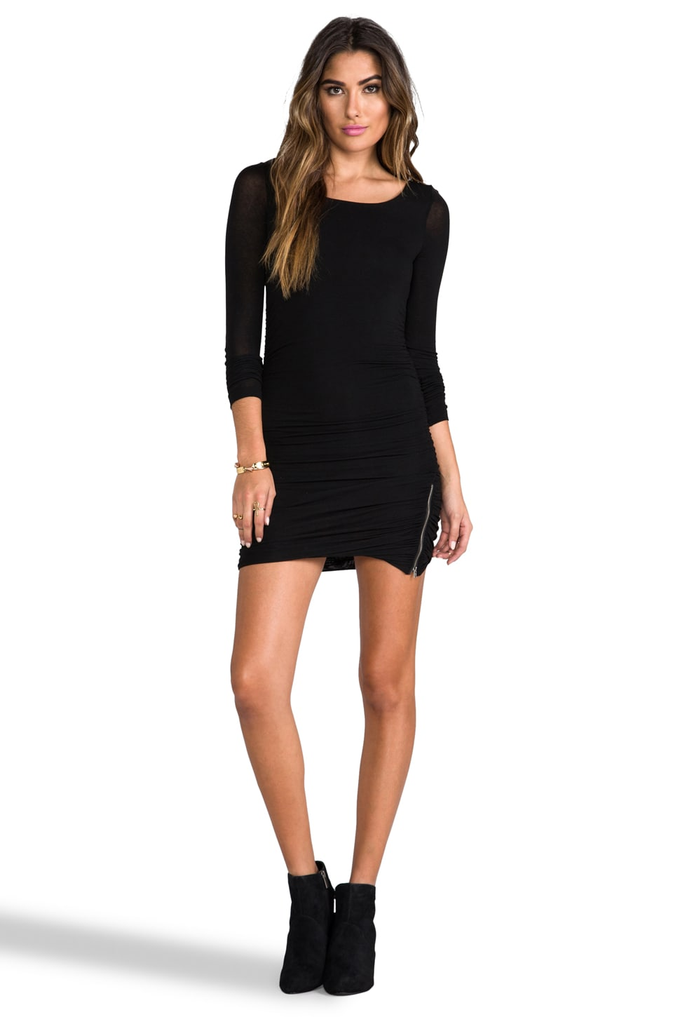 Splendid Long Sleeve Zipper Dress in Black