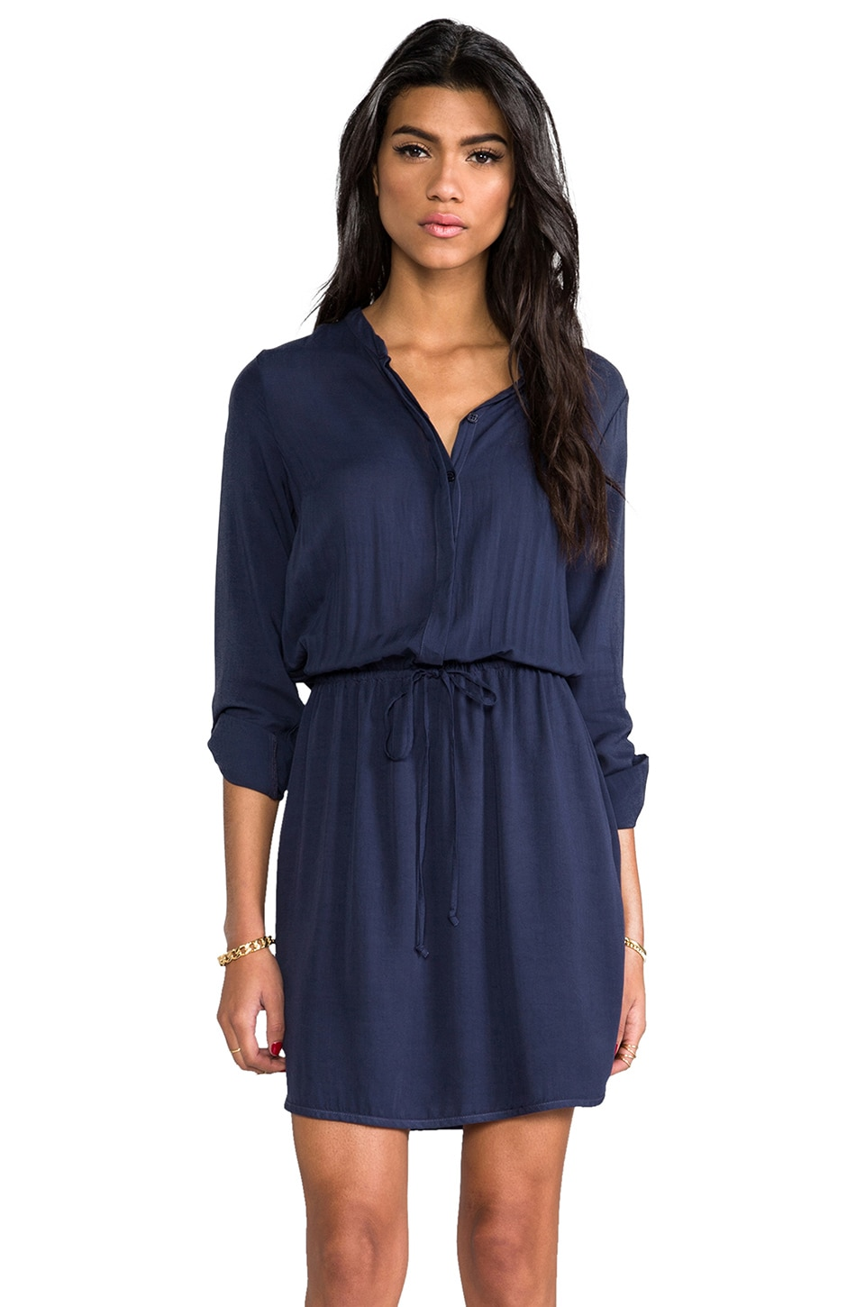 Splendid Draw String Dress in Navy