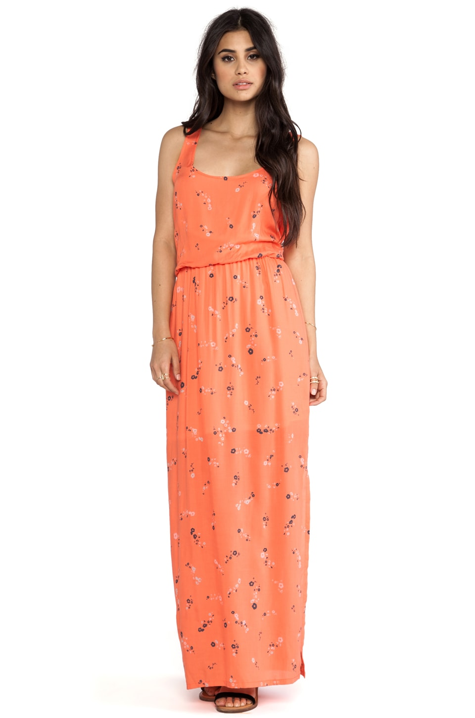 Splendid California Poppies Maxi Dress in Coral