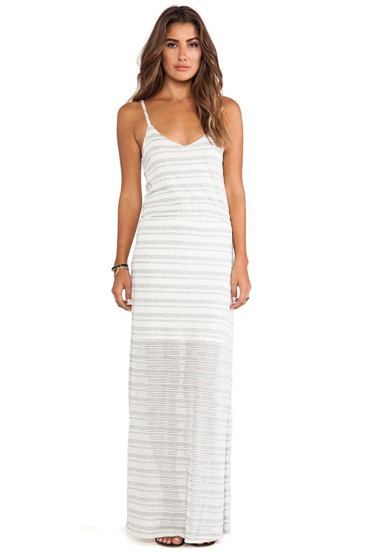Splendid Marina Eyelet Stripe Dress in Heather Grey