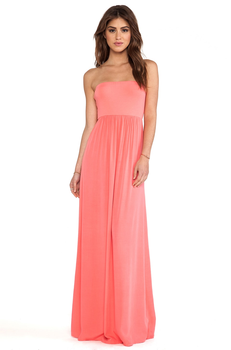 Splendid Strapless Maxi Dress in Coral Pink