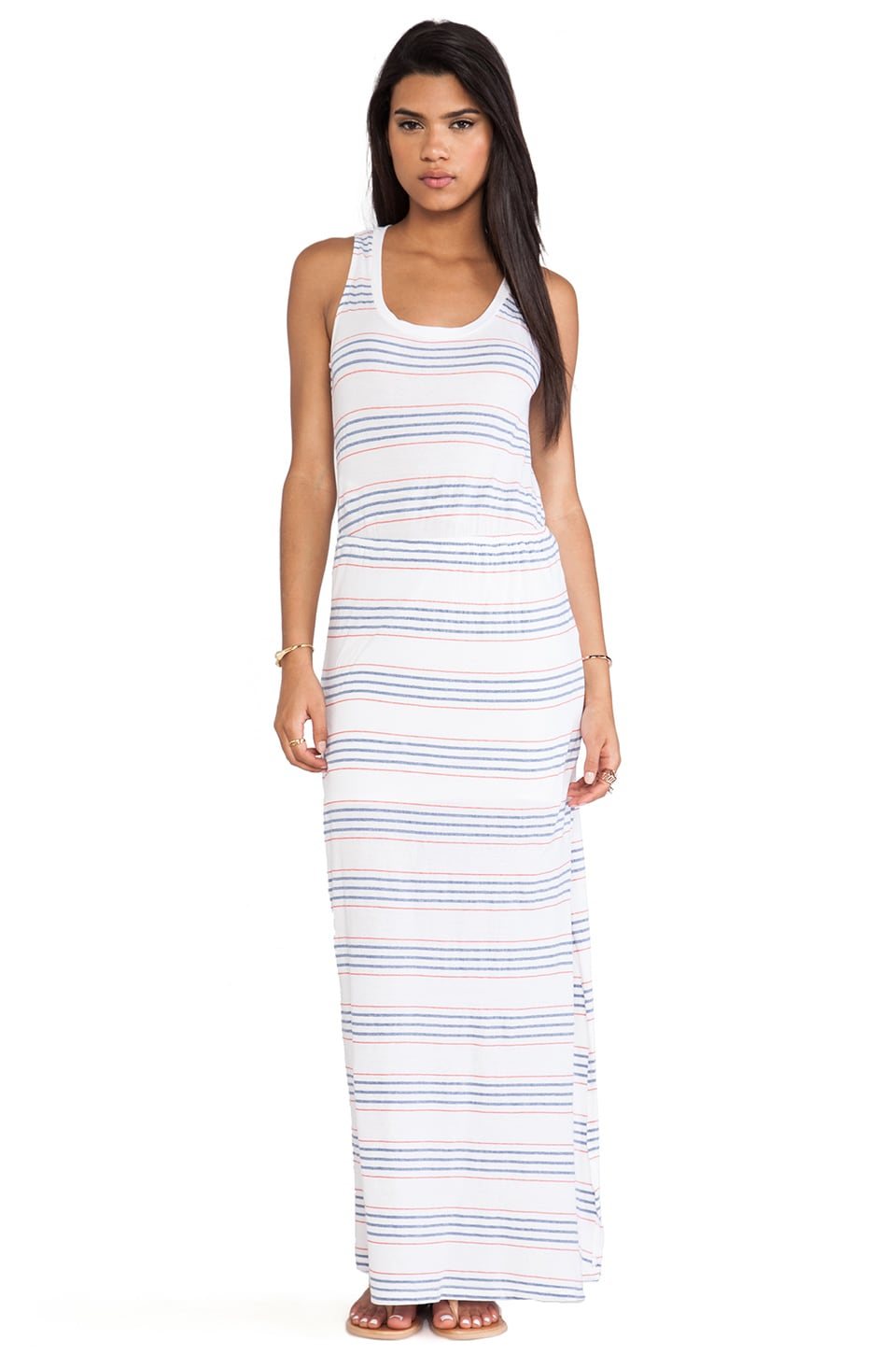 Splendid Striped Empire Waist Maxi Dress in White