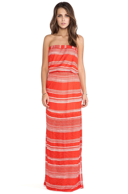 Splendid Safari Stripe Strapless Maxi Dress in Paprika