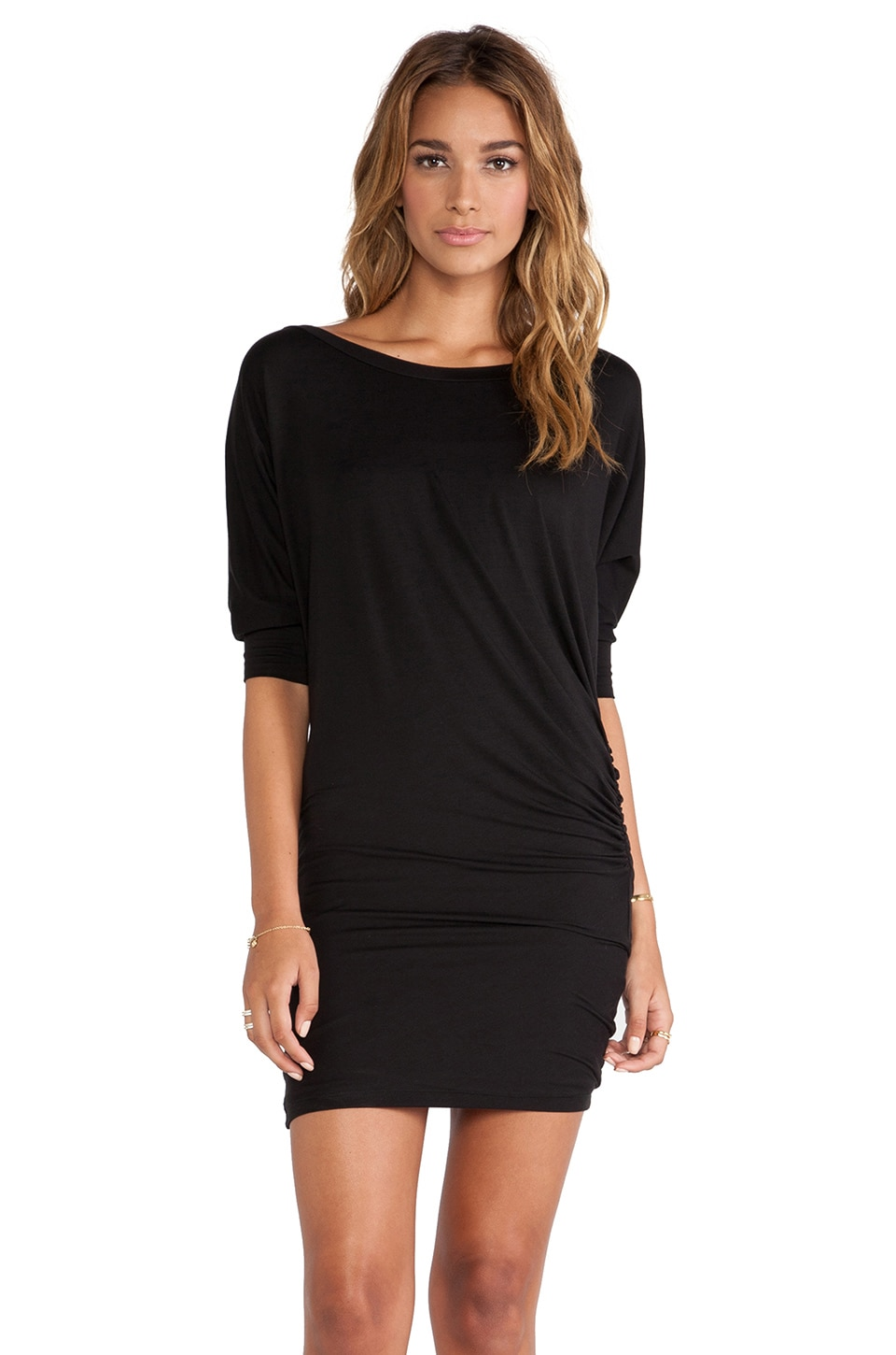 Splendid Shirred 3/4 Slv Dress in Black