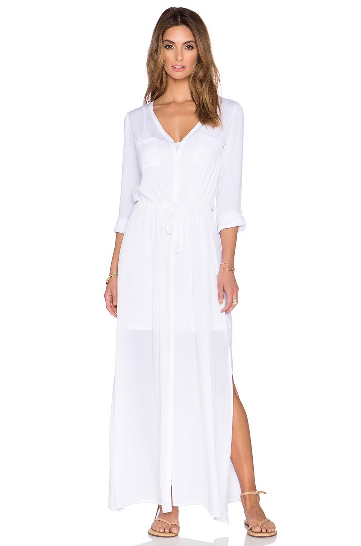 Splendid Button Down Maxi Dress in White