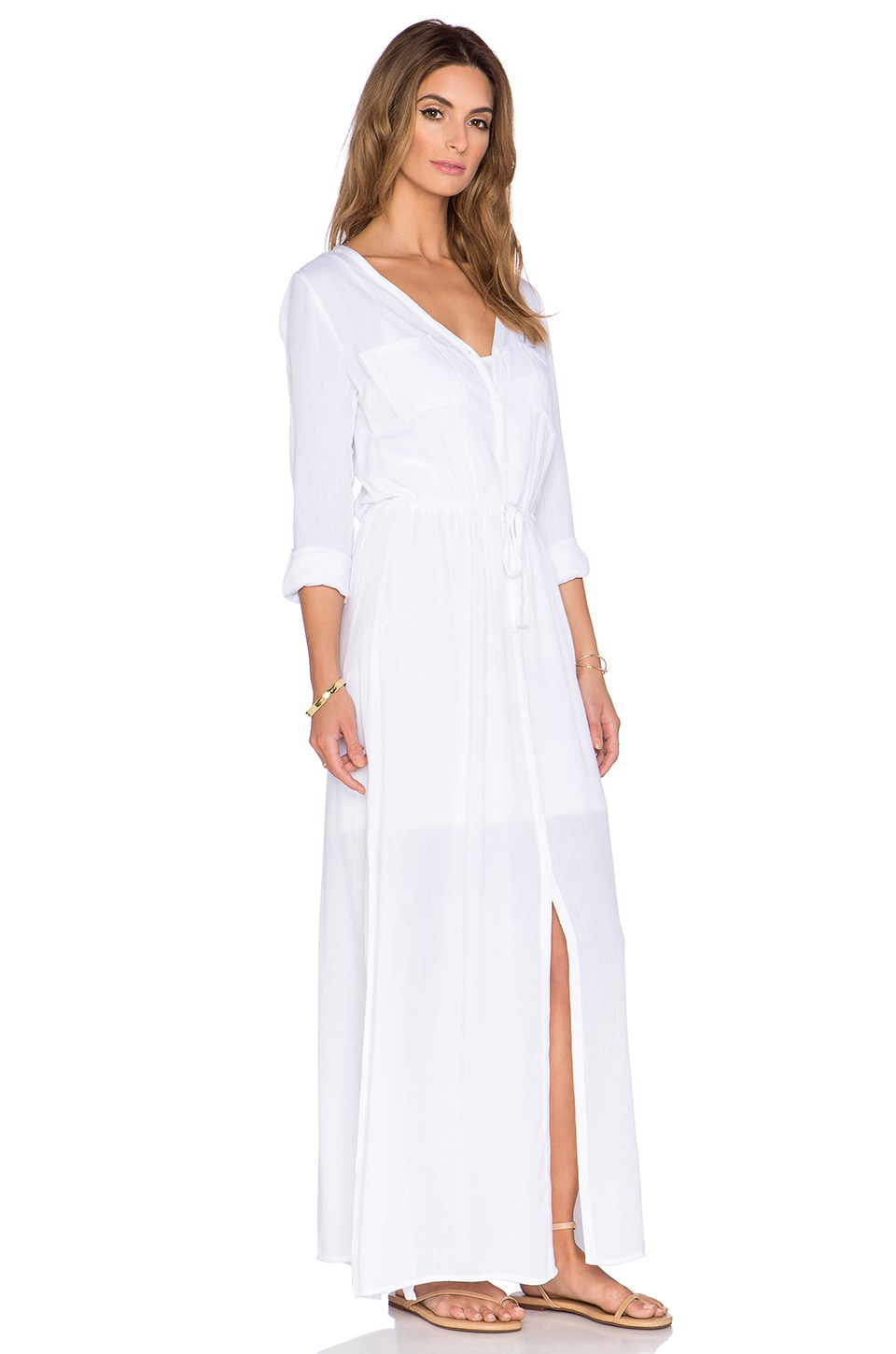 Splendid Button Down Maxi Dress in White | REVOLVE
