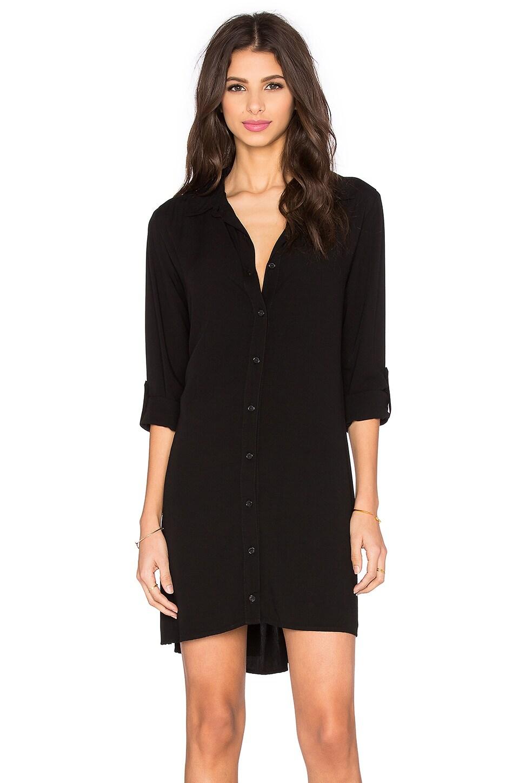 Splendid Button Down Shirt Dress in Black