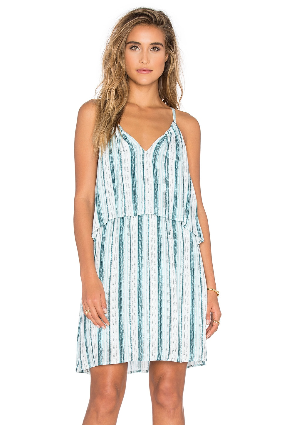 Splendid Beachcomber Stripe Dress in Antique Green & Blue Glass