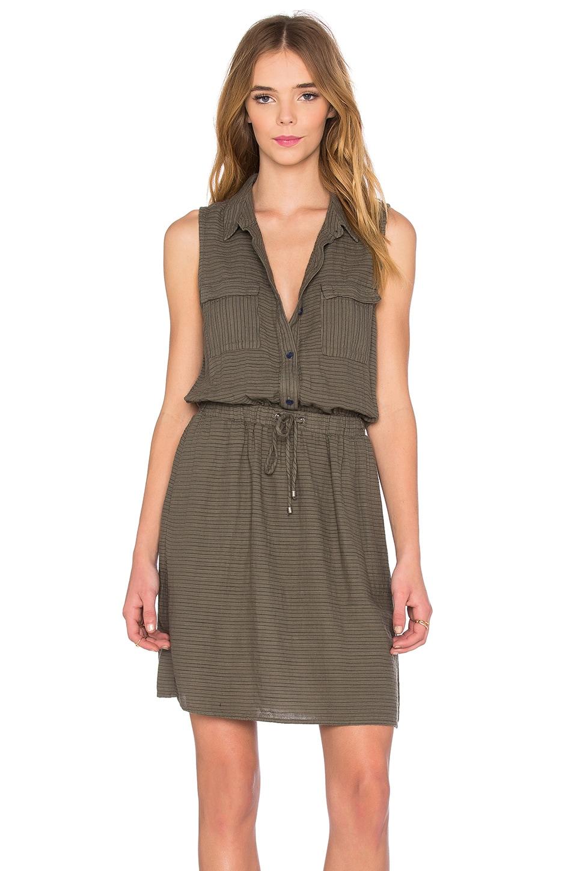 Splendid Marina Pinstripe Dress in Military Olive