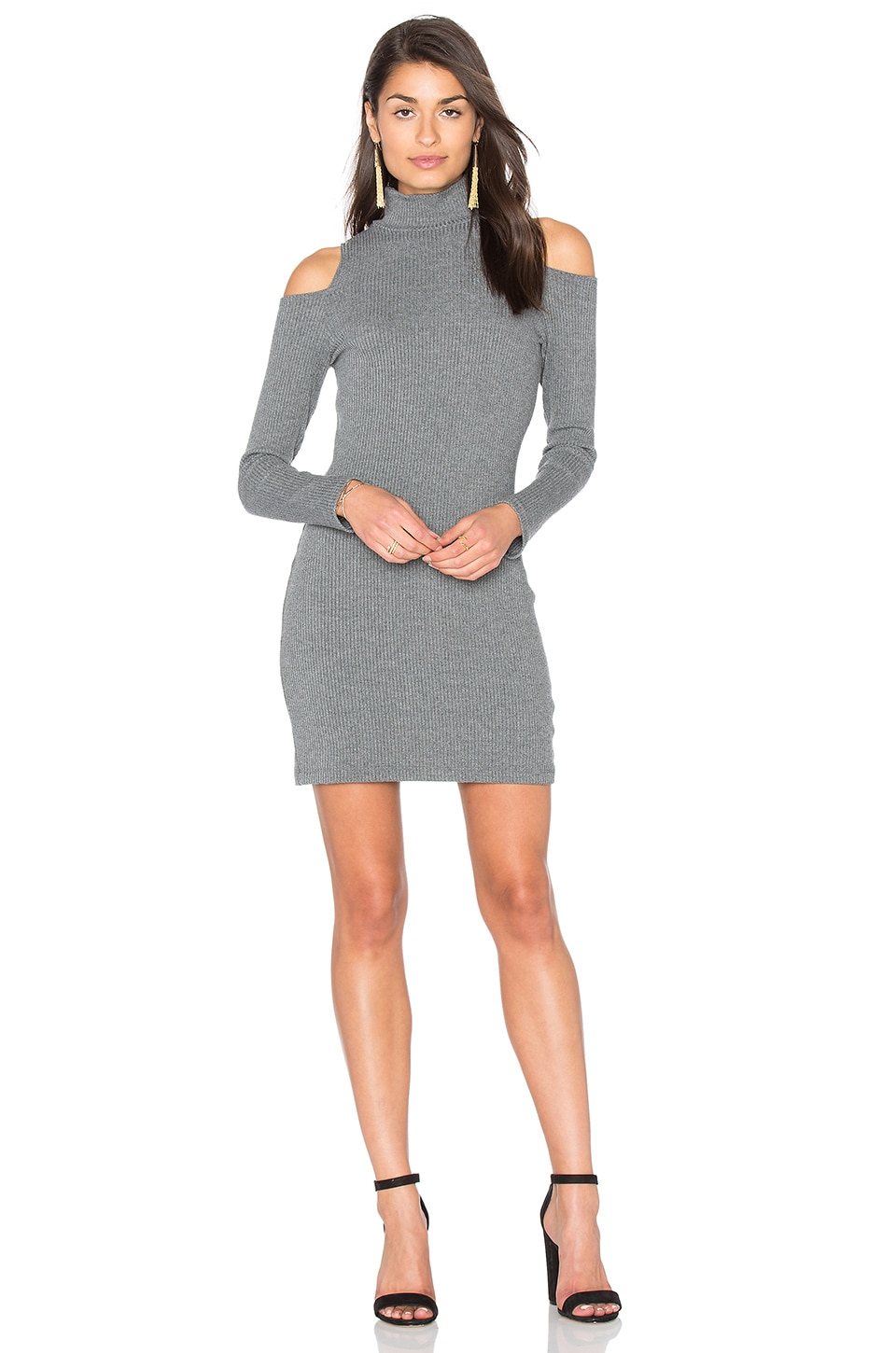 Splendid Waffle Loose Knit Mini Dress in Dark Heather Grey