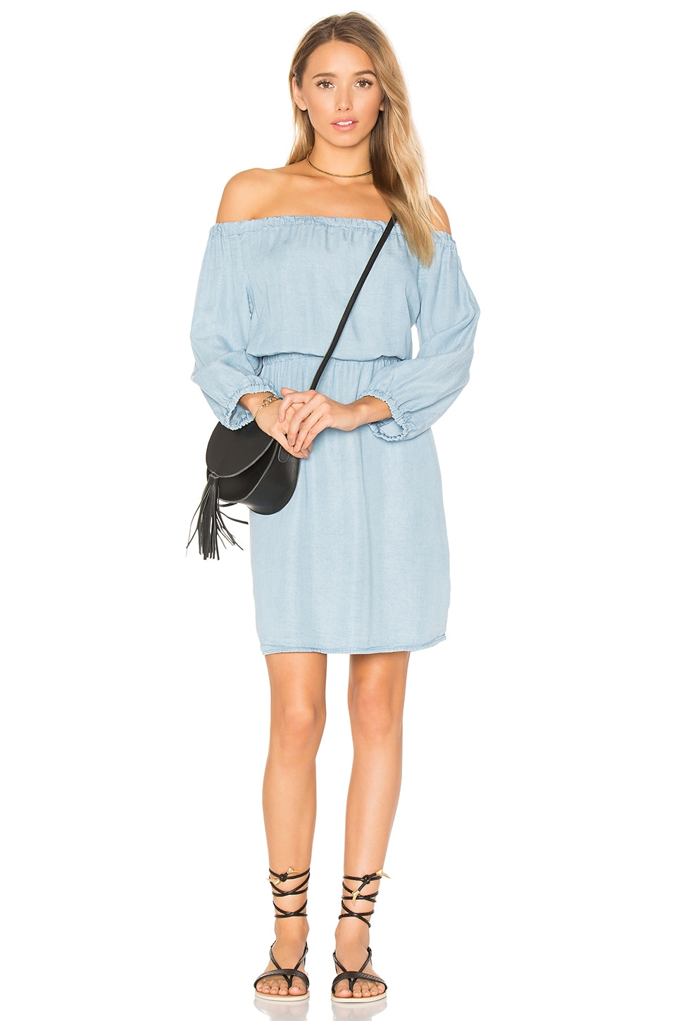 Splendid Off Shoulder Mini Dress in Light Wash
