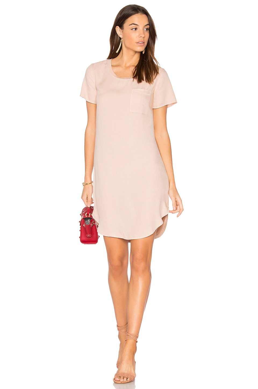 Splendid Mixed Media Shirt Dress in Pink Beige
