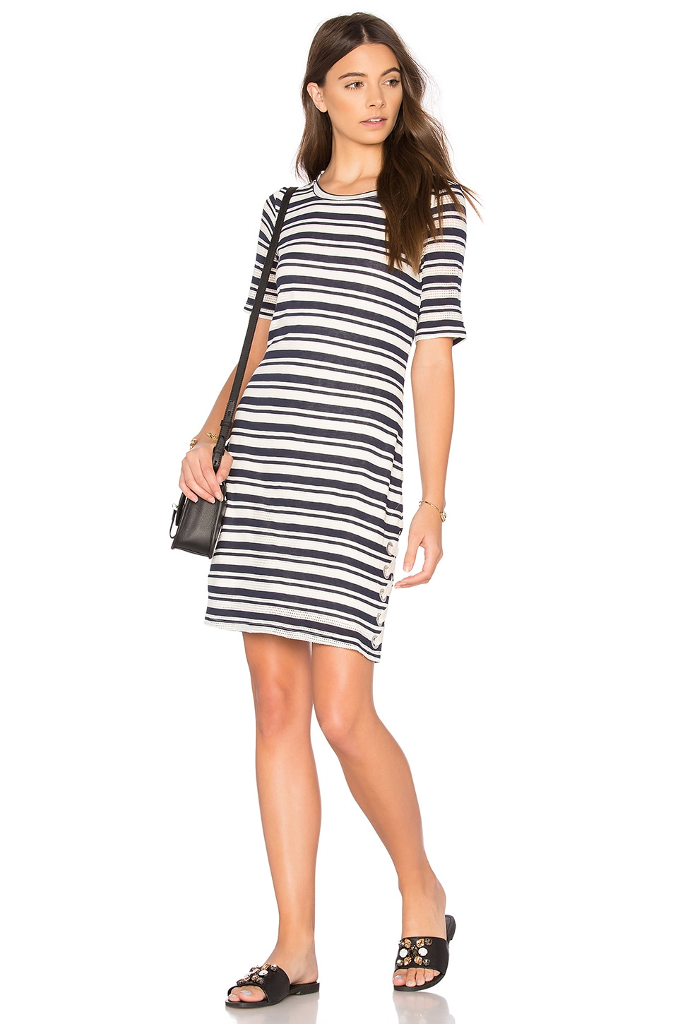 Splendid Topsail Stripe Shirt Dress in White & Navy