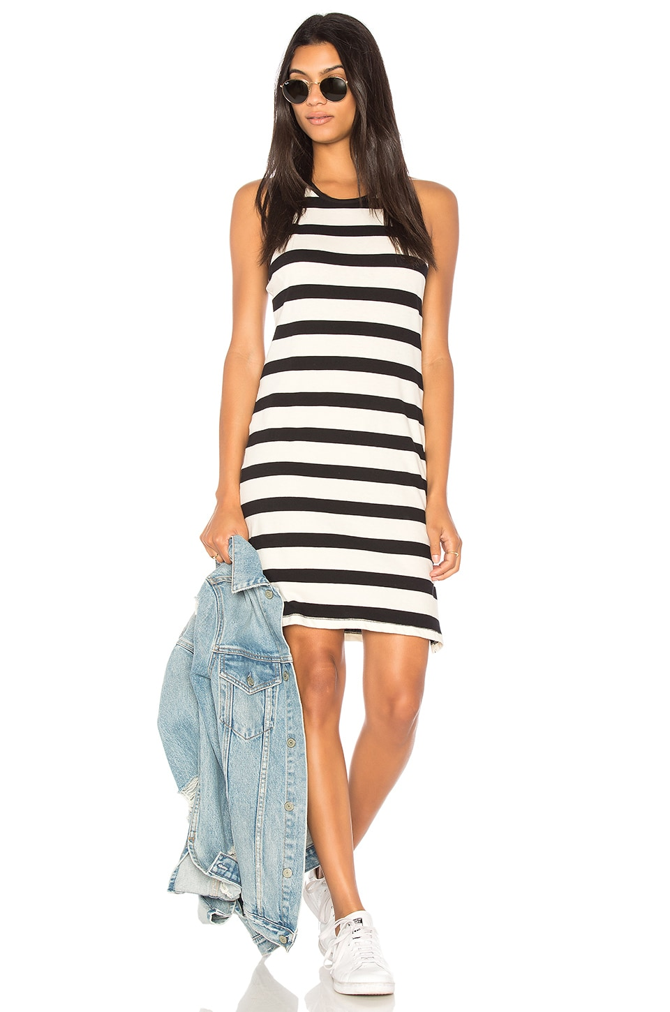 Splendid Seaboard Stripe Racerback Dress in Black & Cream