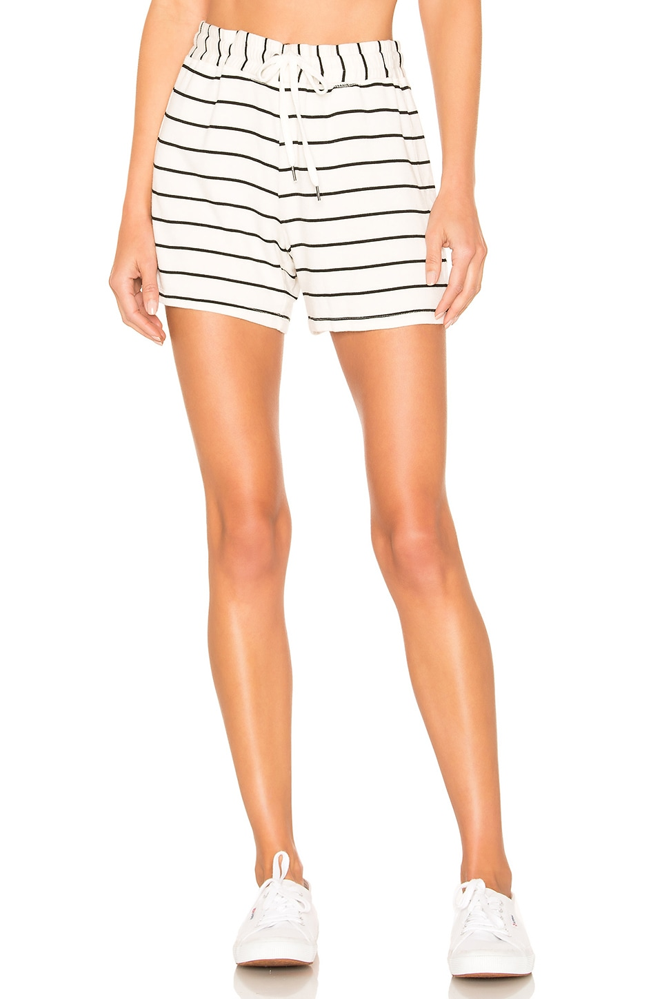 Splendid French Terry Shorts en Off White & Black
