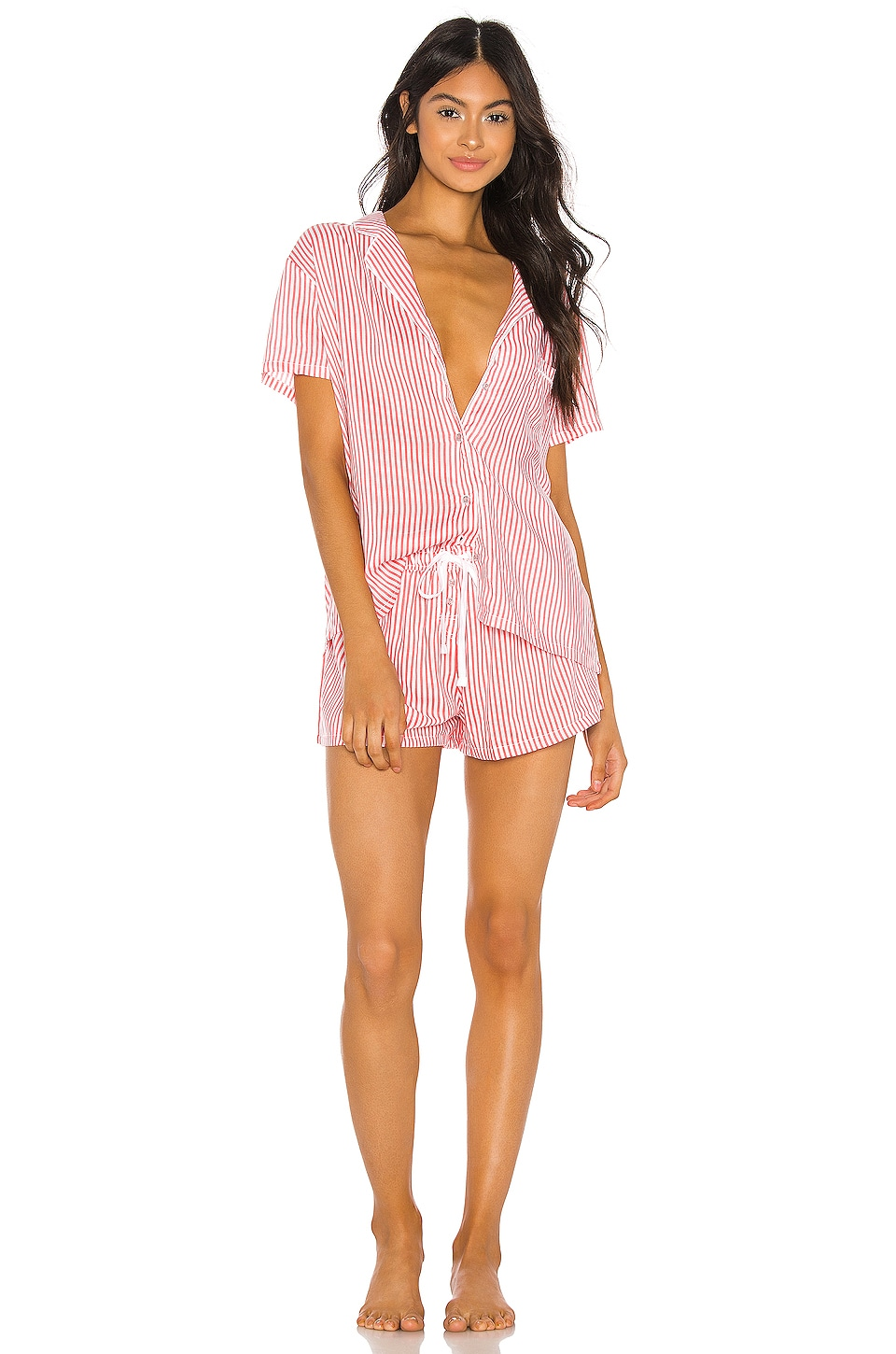 Splendid Shortie PJ Set in Heavenly Stripe Coral