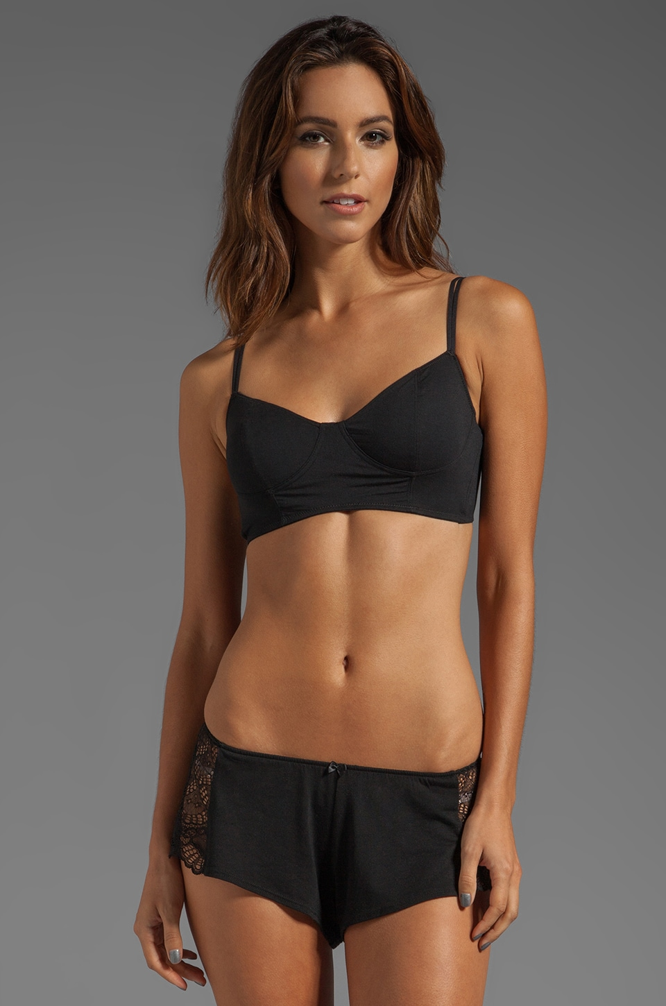 Splendid Longline Soft Cup Bra in Black