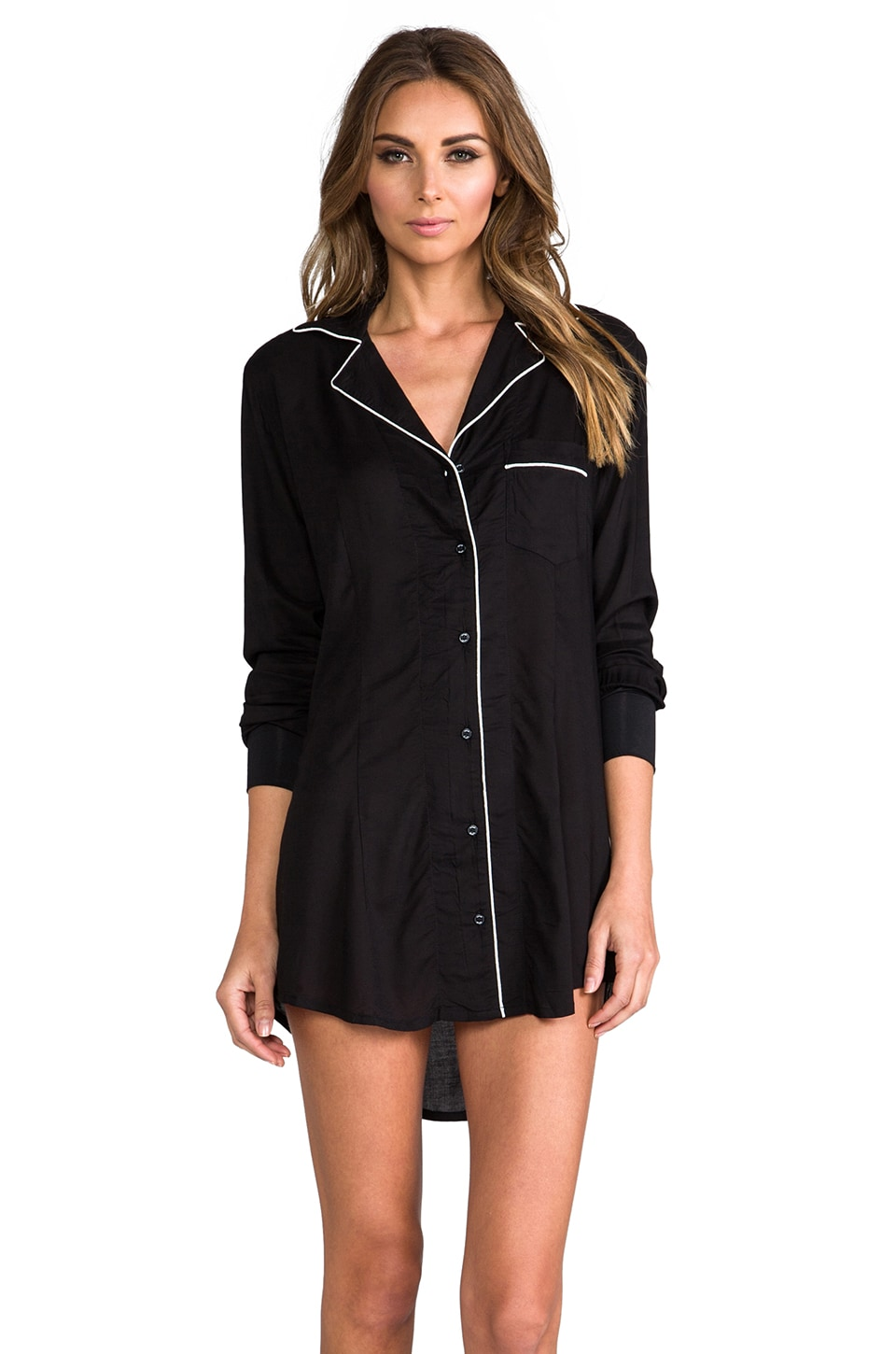 Splendid Mixed Company Boyfriend Sleep Shirt in Black