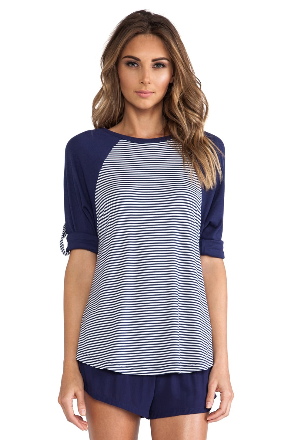 Splendid Dolman California Dreamin' Raglan in Navy Mini Stripe
