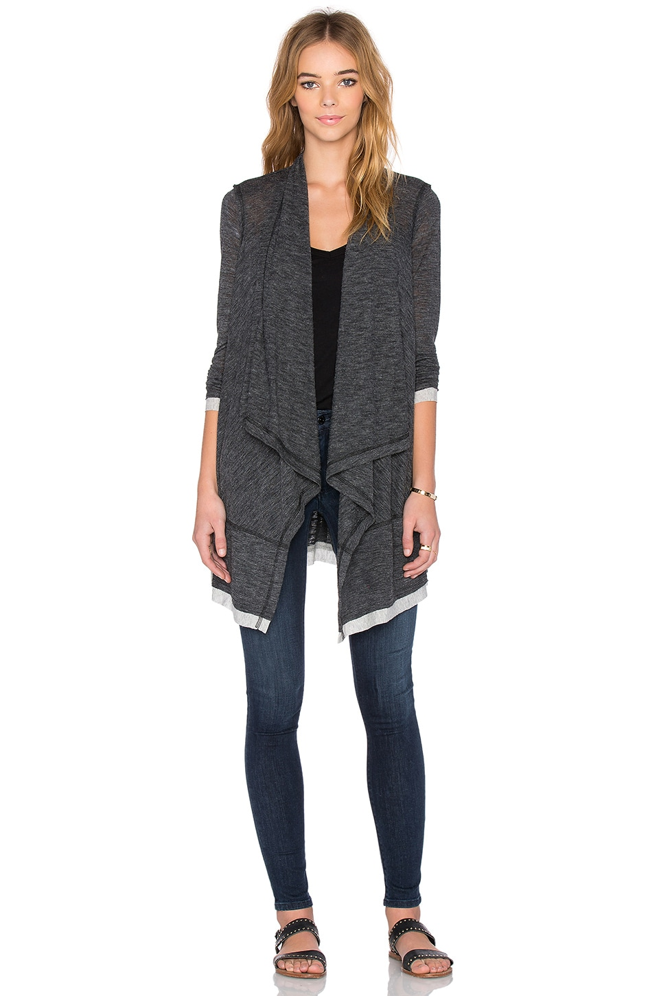 Splendid Melange Drape Cardigan in Heather Charcoal