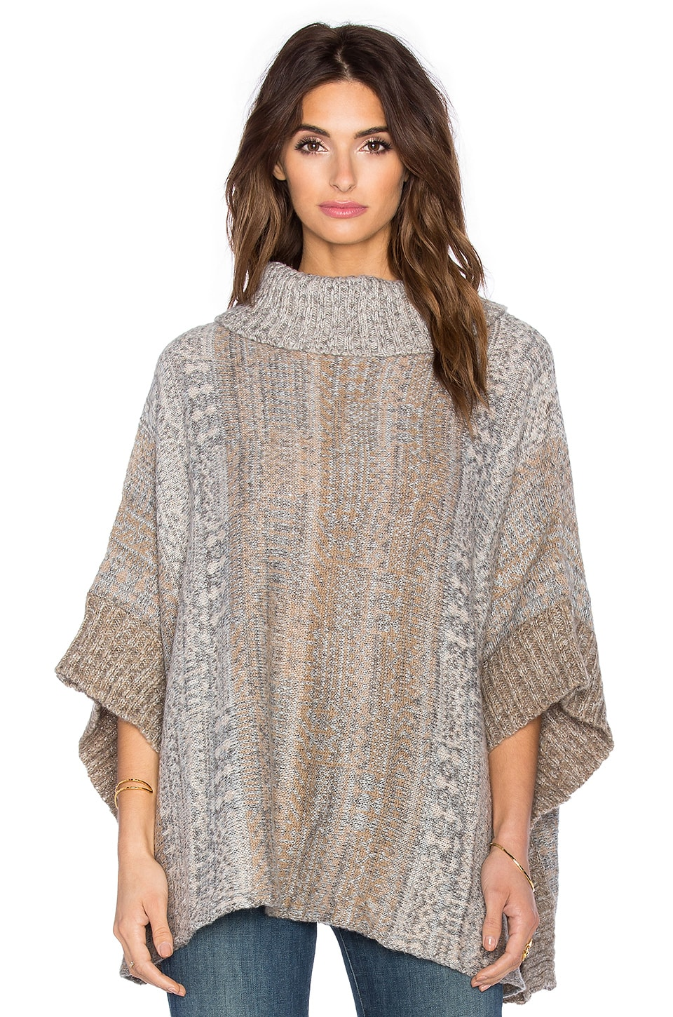 Splendid Snowfall Turtleneck Poncho in Warm Sand Muti