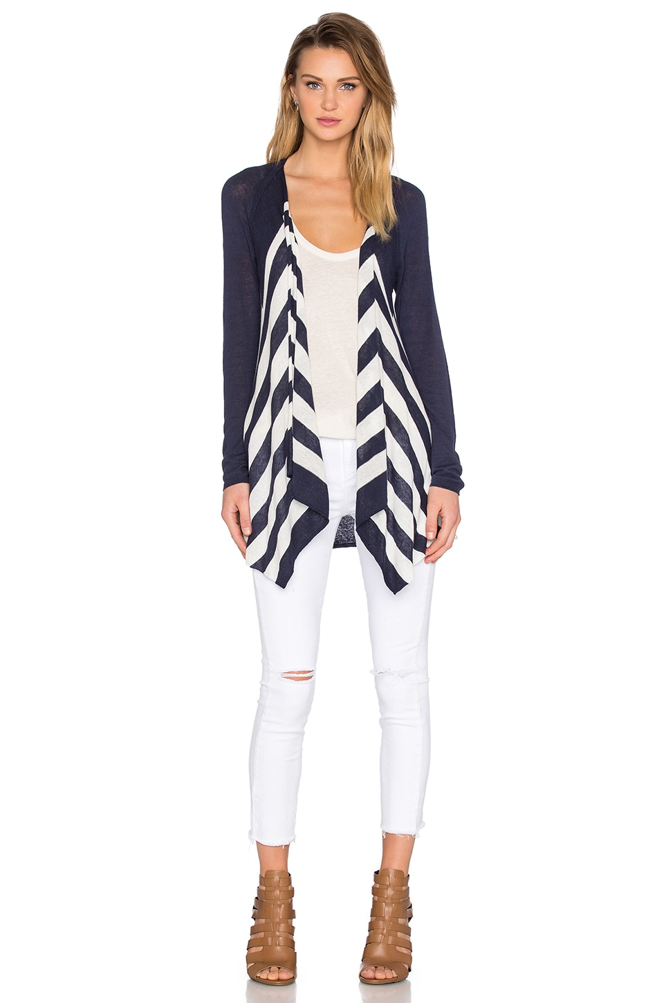 Splendid Parasol Stripe Cardigan in Navy & Natural