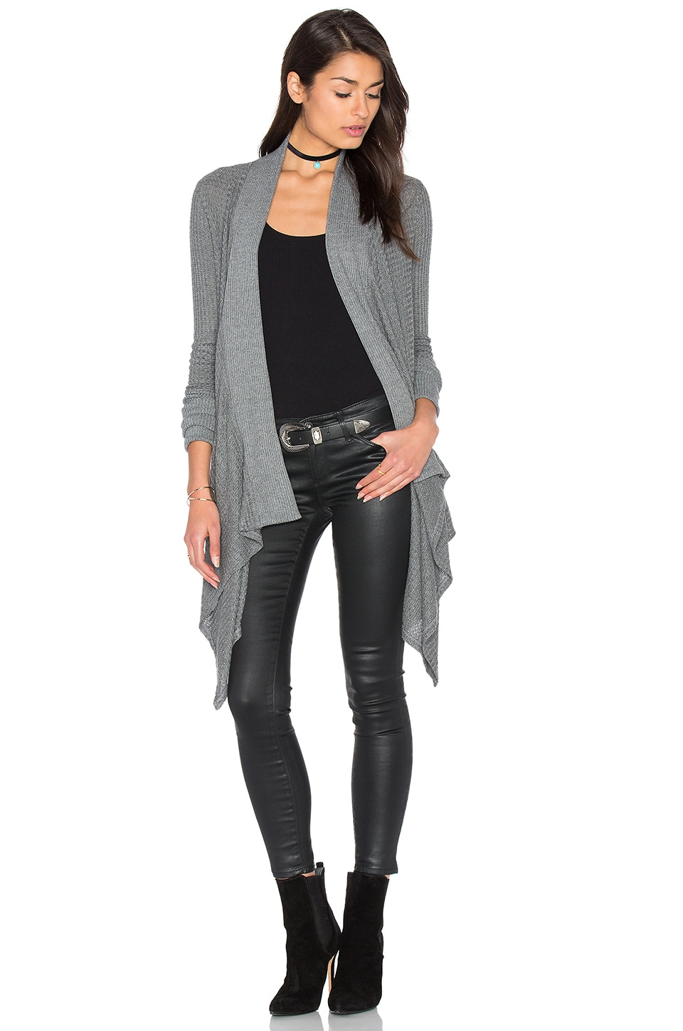Splendid Waffle Loose Knit Wrap in Dark Heather Grey