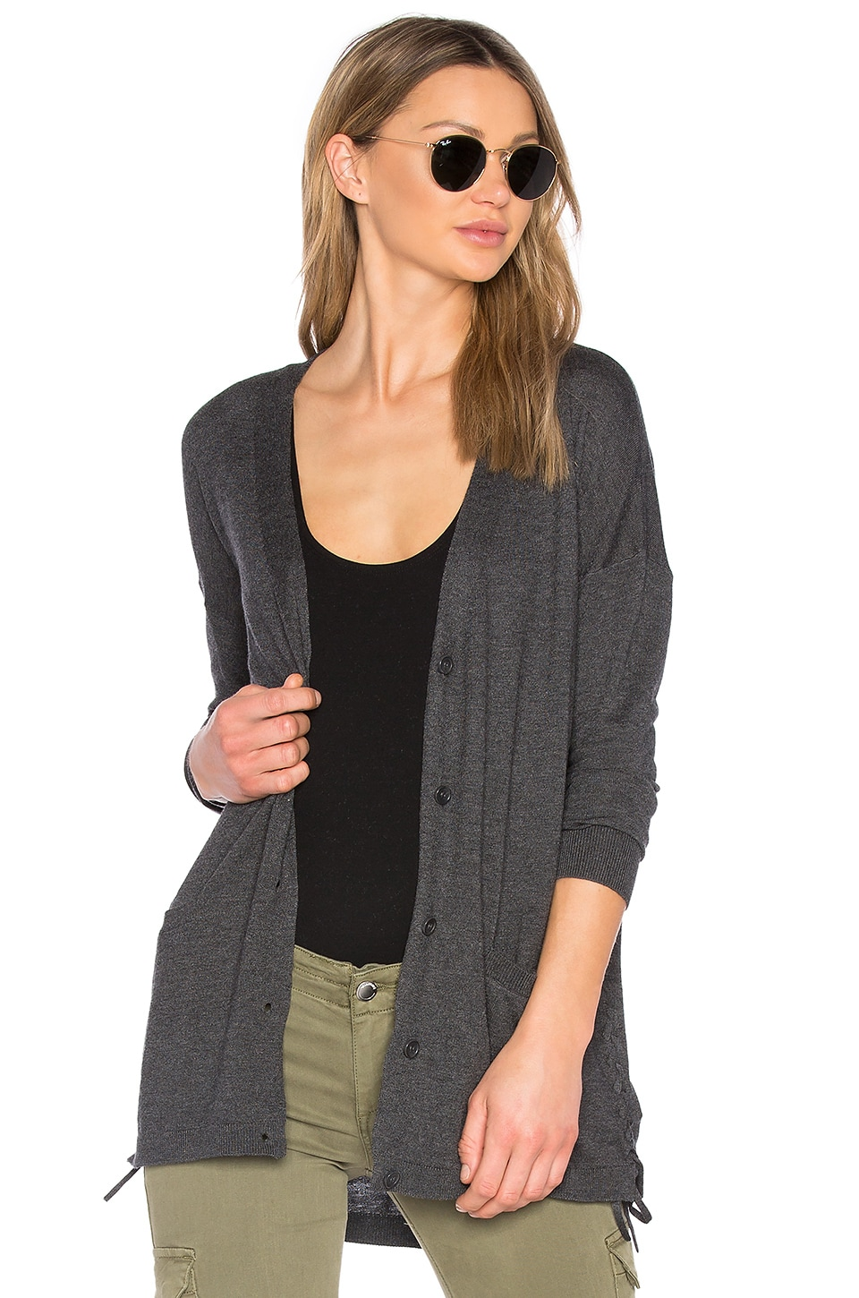 Cashmere Blend Lace Up Cardigan by Splendid