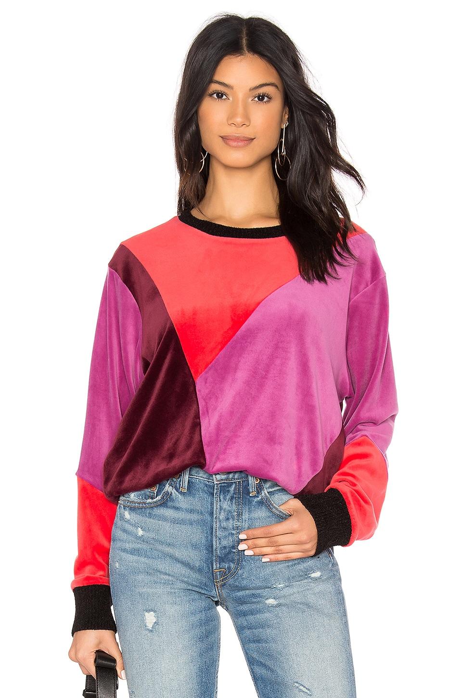 Splendid x MARGHERITA Velluto Pullover Sweatshirt in Borgona