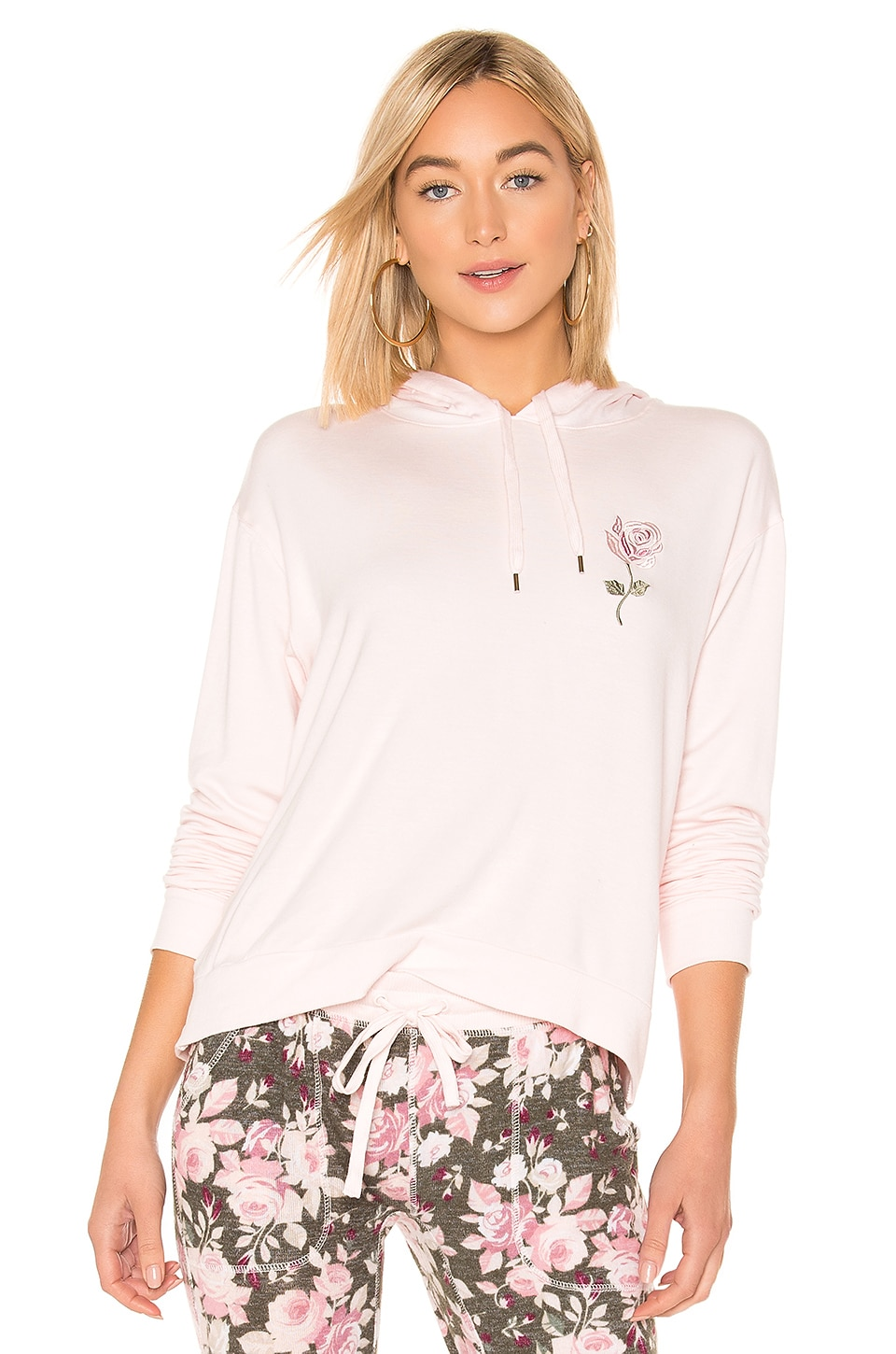 SPLENDID Gathered Back Hoodie Pajama Top in Pink