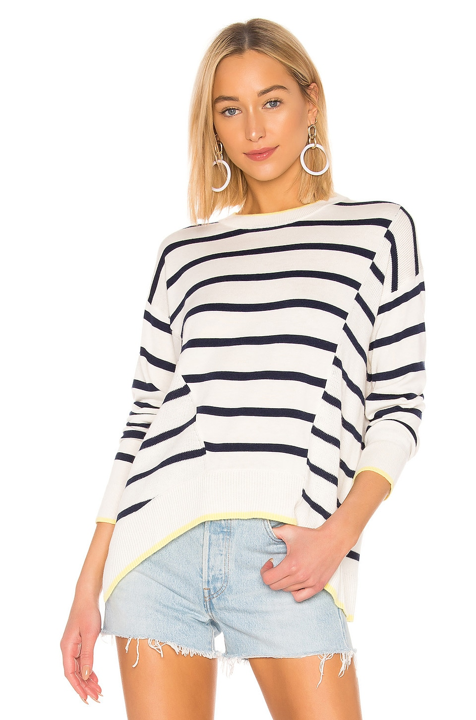 Splendid Avery Stripe Cashmere Blend Sweater in Natural & Navy Spark Tipping