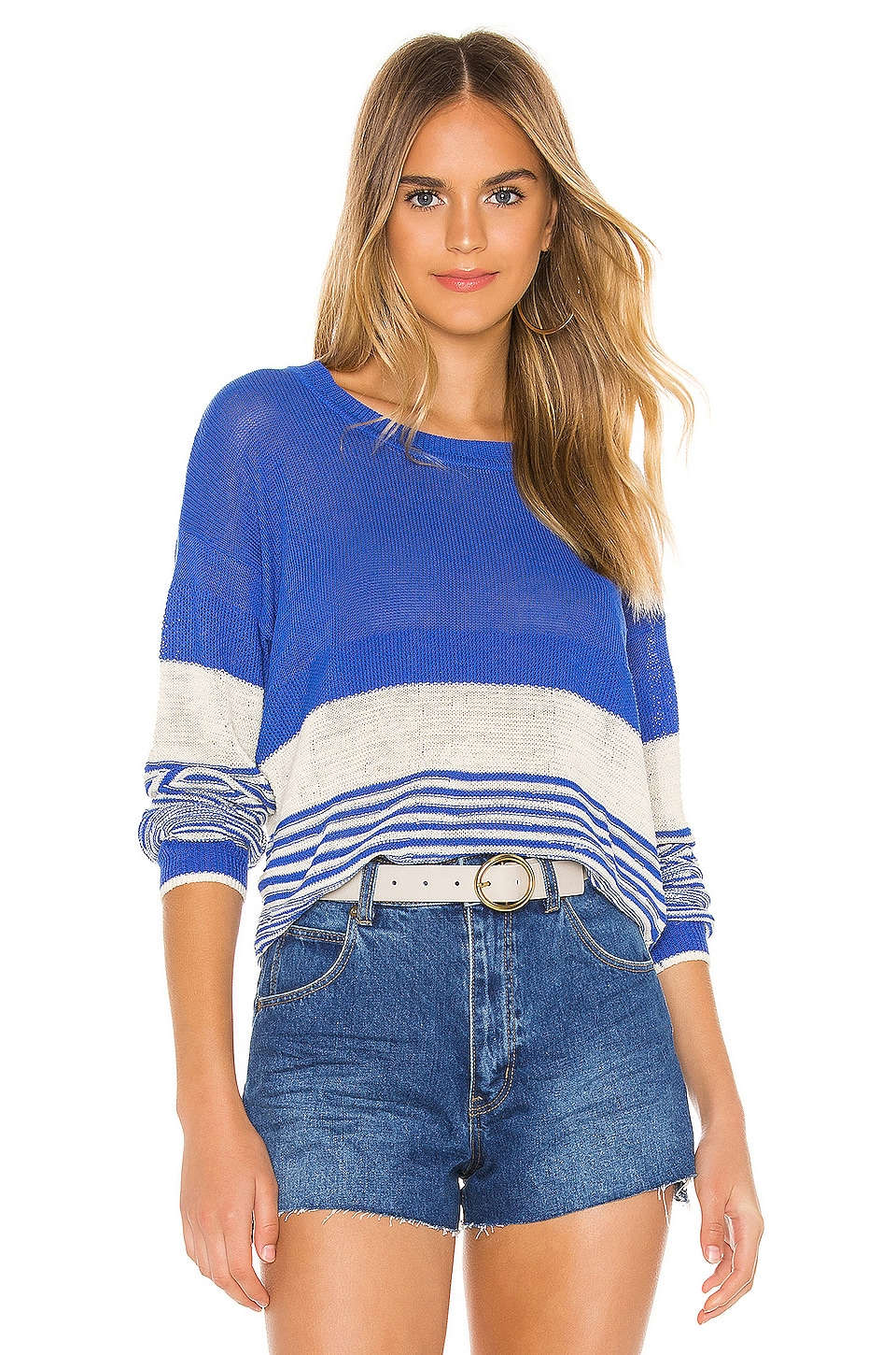 Splendid Cove Pullover in Heritage Blue & Natural