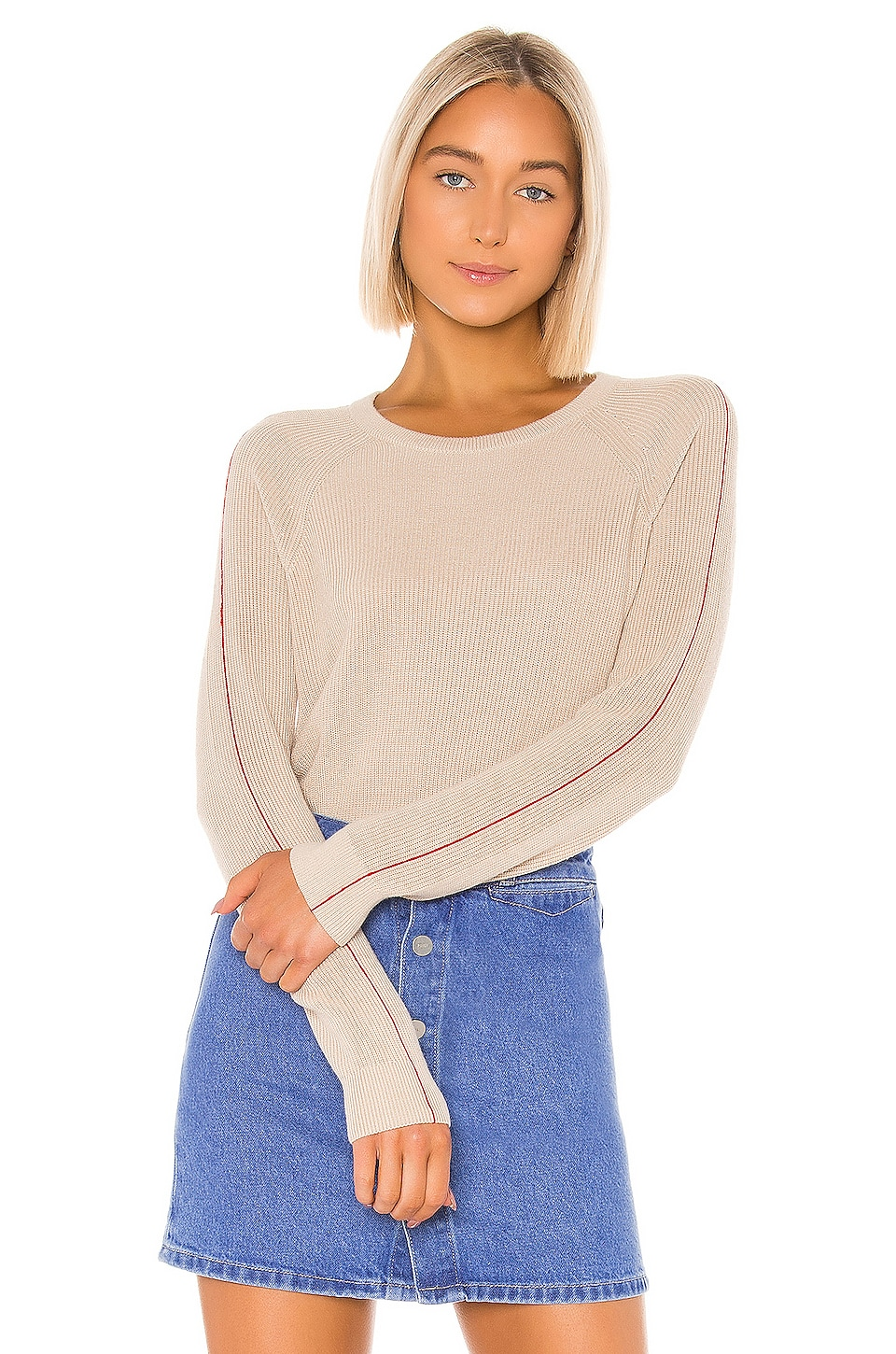 Splendid Pop Stitch Pullover in Oatmeal & Brick Pop